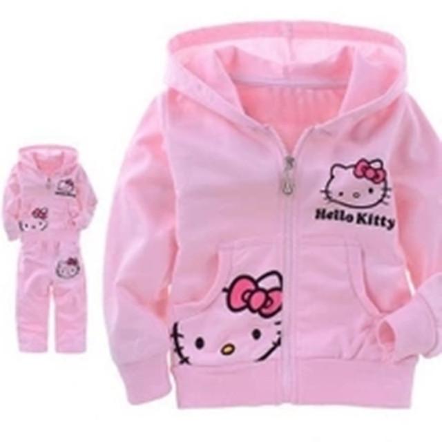 Meninas do bebê Olá Kitty Ternos Outerwear Casaco de Manga Comprida Com Capuz da Camisola + Calças Crianças Outono Crianças Terno Roupas Frete Grátis