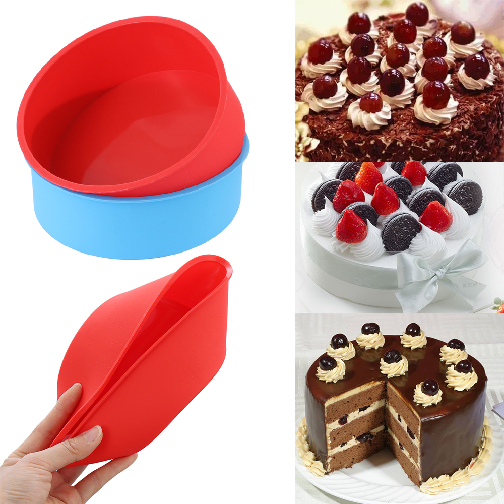 Silicone Cake Pan Tray Round Pudding Mold Muffin Mousse Mould DIY Baking Tool