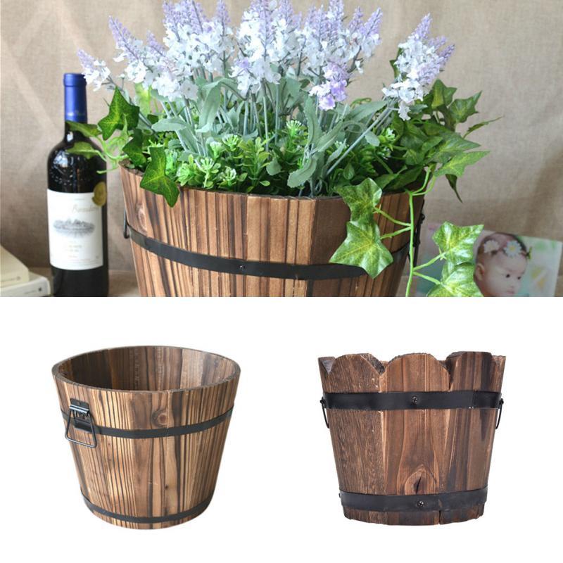 S M L Wooden Gardening Treasure Round Barrel Outdoor Pot Home Decor Flower Planter Retro Flat