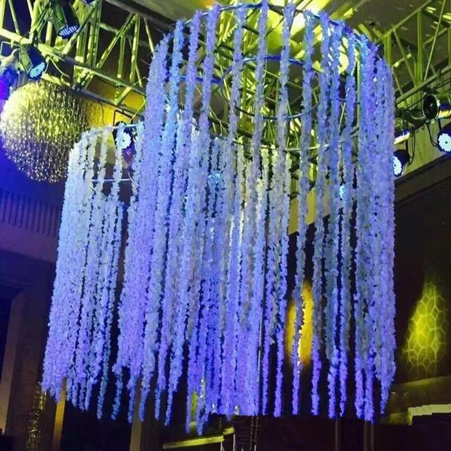 Wedding Decoration Artificial Wisteria Fake Silk Flower Vine Hanging Garland Home Decor For Xmas