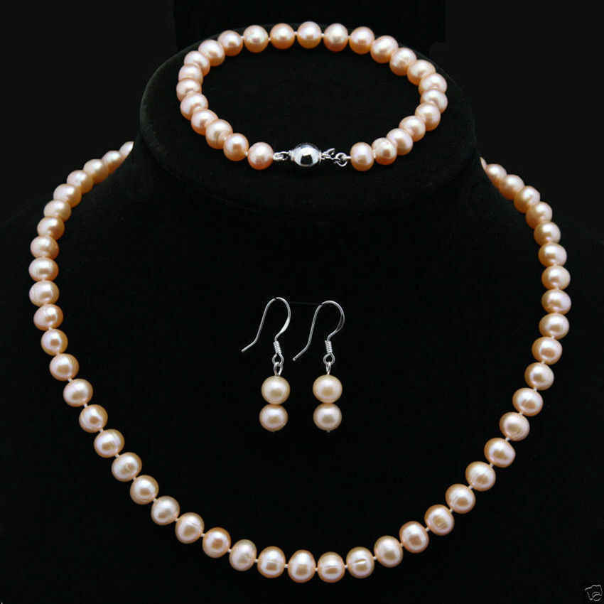 Natural 7-8mm Pink Akoya Cultured Pearl Necklace Bracelet Earrings Jewelry Set