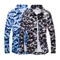 2016 hombre casual camisa de camuflaje hombres army tactical combat camisa casual clothing campamento militar camo print slim fit camisas para hombre