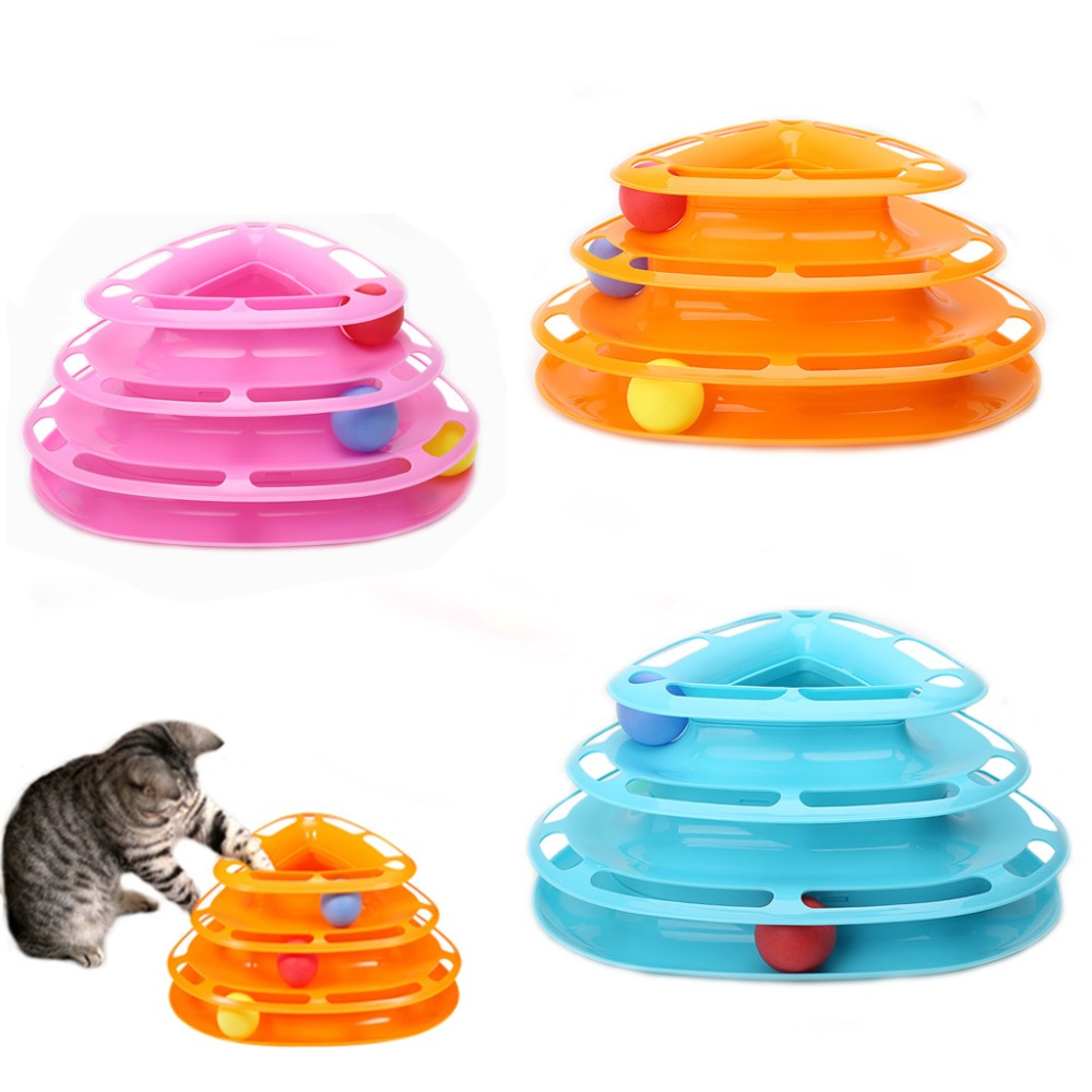 Cat Toy Funny Pet Toys Cat Crazy Ball Disk Interactive Amusement Plate Play Disc Trilaminar Turntable Cat Toy
