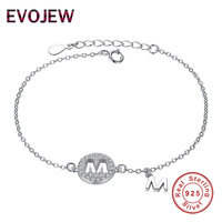 EVOJEW Genuine 925 Sterling Silver Openwork Cubic Zirconia M Letter Chain Bracelet For Women Girls Fashion