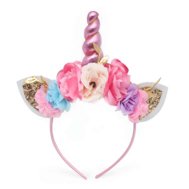 เด็ก Glitter Unicorn Headbands อีสเตอร์วันเกิด Headwear อุปกรณ์เสริมผม