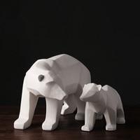 Geometric Section White Polar Bear Ornaments Cabinet TV Family Decorative Pop Art Craft Ornament Resin Crafts Love Gift