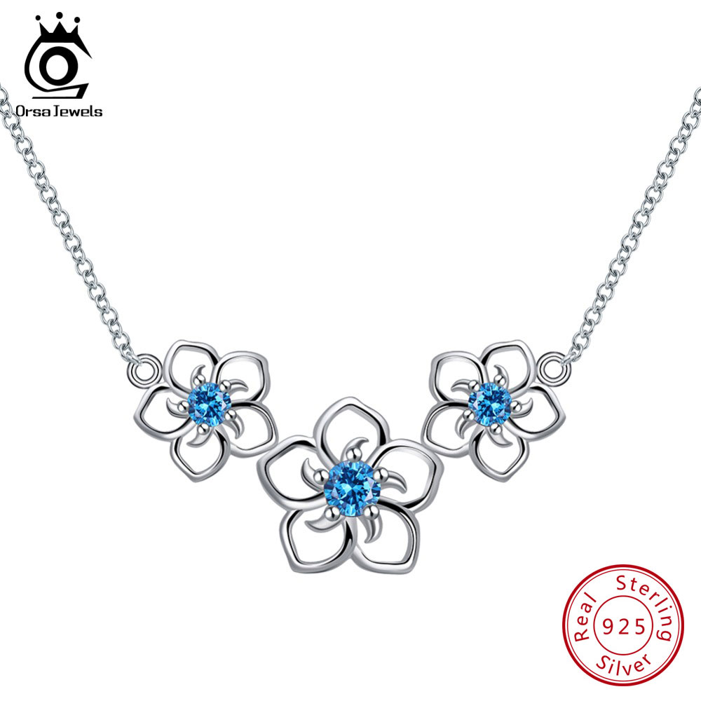 где купить ORSA JEWELS 100% Real Sterling Silver Necklaces For Women 3 PCS Hollowed Flowers With Top-grade Cubic Zircon Female Jewelry SN96 по лучшей цене