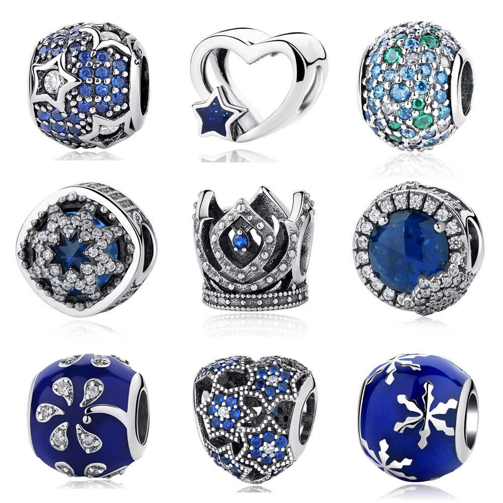 ec3d76f75 Authentic 925 Sterling Silver Beads Crystal Snowflake Sky Star Midnight Blue  Orbit Fits Original Pandora Bracelets