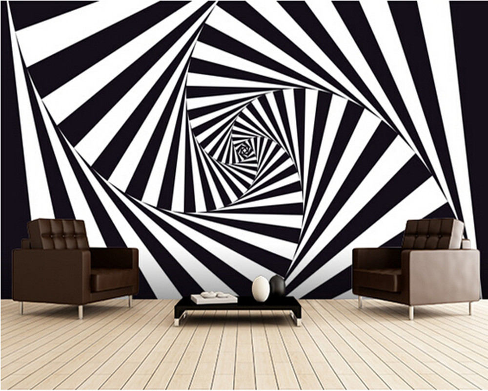 Custom 3d Art wallpaper,Optical Art Spiral murals for the bedroom sitting room kitchen room wall waterproof PVC wallpaper custom baby wallpaper snow white and the seven dwarfs bedroom for the children s room mural backdrop stereoscopic 3d