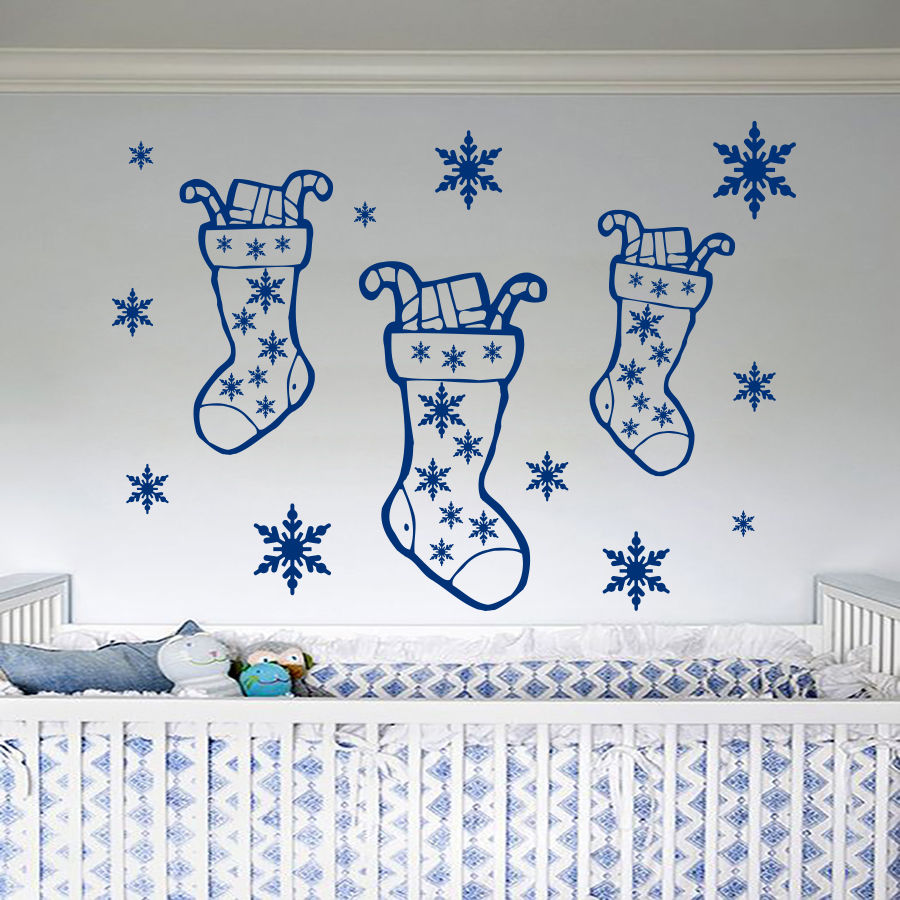 Merry Christmas Gift Socks Wall Mural Home Nursery Bedroom Art Decor Vinyl Wall Sticker  ...