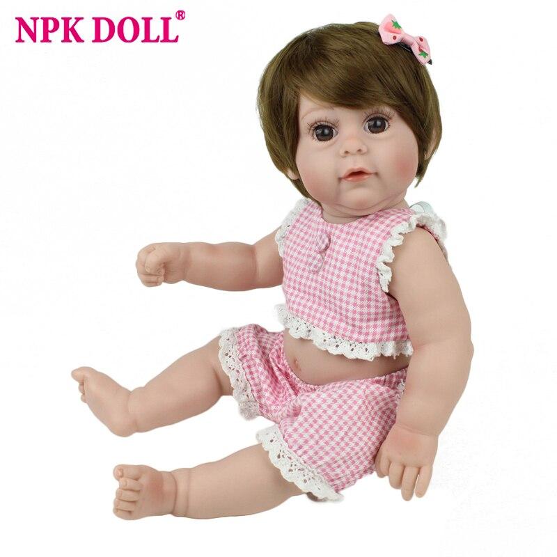 Reborn Baby Doll Pink Princess Girl Full Vinyl 17 inch NPK Lifelike Realistic Silicone Kids Infant Lovely Babe Boneca Educationa