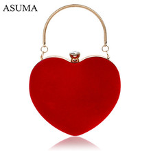 Heart Shaped Diamonds Women Evening Bags Chain Shoulder Purse Day Clutches Evening Bags For Party Wedding Banquet Bag цена в Москве и Питере