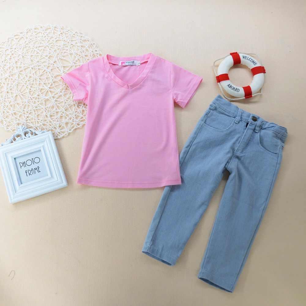 Детский комплект одежды, 2 предмета, Kinderkleding, модные однотонные розовые v-образные вырезы + джинсы, комплект одежды из 2 предметов, повседневная одежда