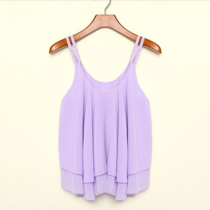Jlong 2018 New Casual   Tanks     Tops   Women Casual Camis Summer Chiffon   Tops   Female Double Layer Sleeveless Loose Crop   Top   z1