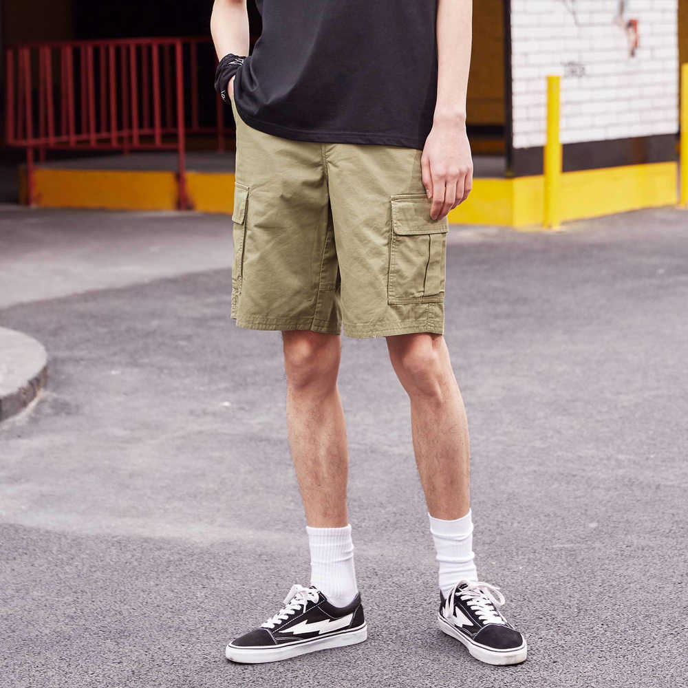 Metersbonwe erkek yaz rahat kısa pantolon pamuk moda plaj tatil gevşek şort katı renk nefes rahat pantolon