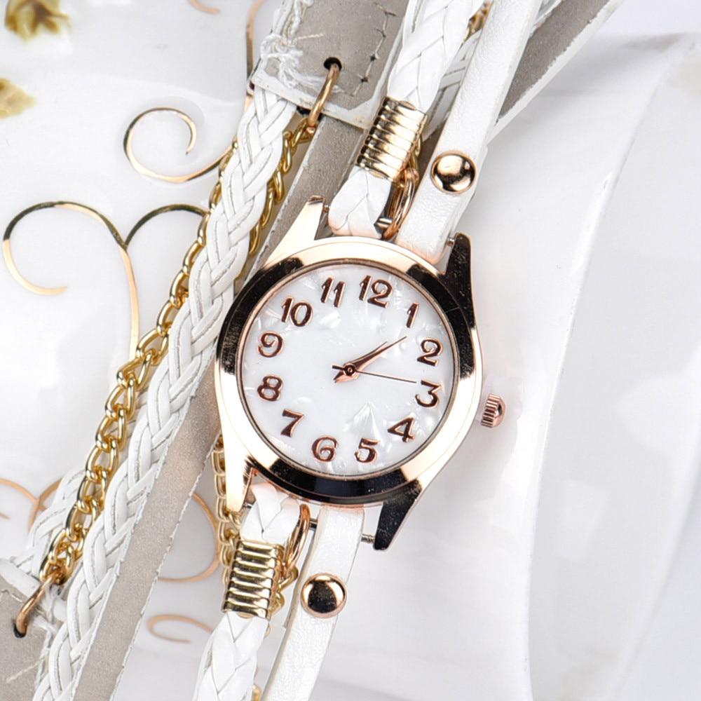 Women Watch Fashion Bracelet Exquisite Elegance Leather Strap Braided winding Rivet Bracelet Watches Wristwatch bracelet