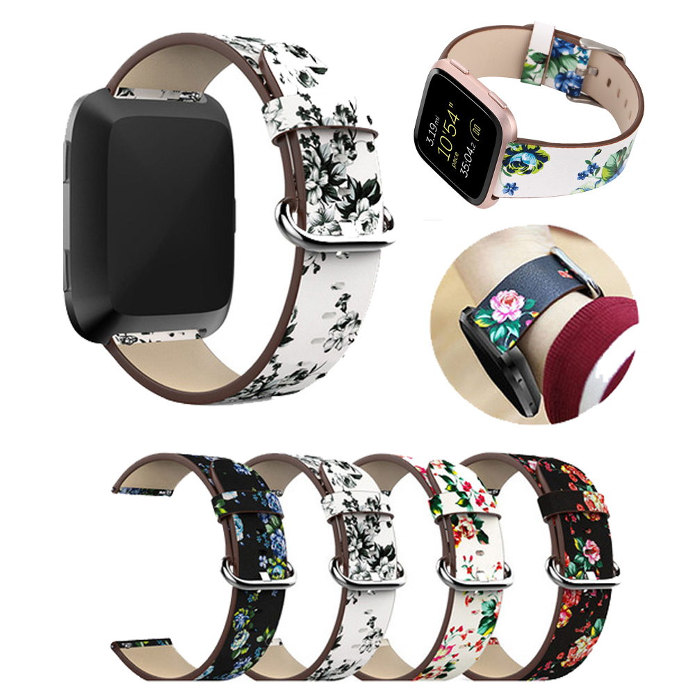 Watch Band Leather Peony Print For Fitbit Versa Replacement Watch Accessories Wristbands Strap Bracelet Flower Strap Correa Relo