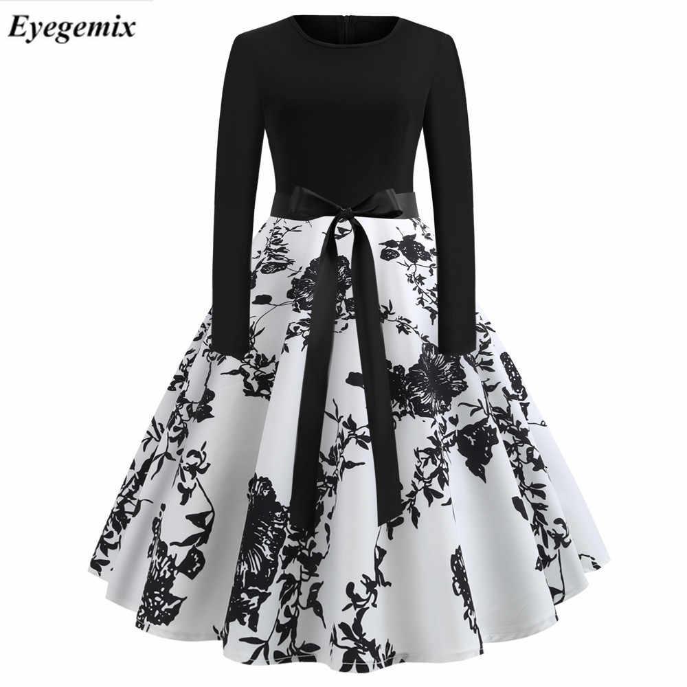 e6f7ac21b6 Dot Elegant Hepburn Party Dress Women 50s 60s Winter Vintage Dresses Robe  Femme Casual Long Sleeve Swing Pinup Midi Dress Plus