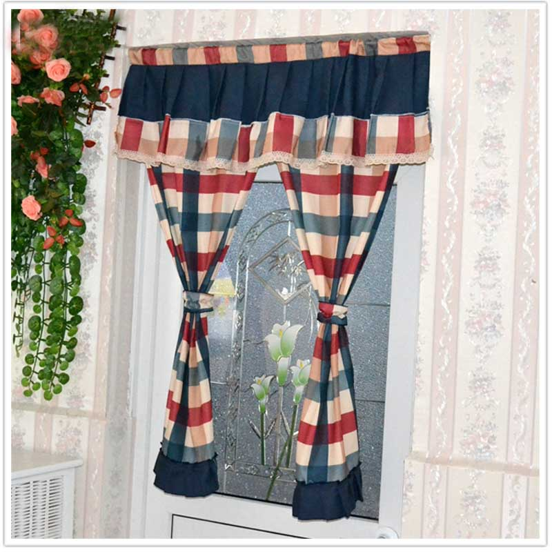 Nice Curtains Modern plaid kitchen door curtains curtain set cotton fabric short Home decorative window screen beautiful curtain