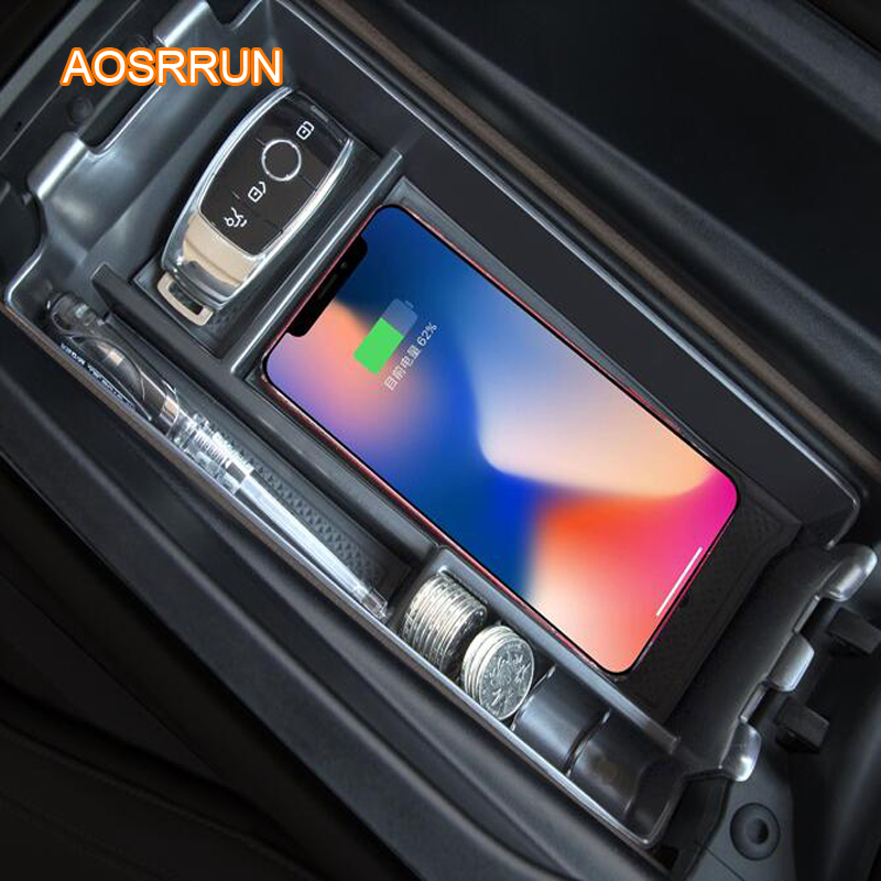 AOSRRUN Special on board QI wireless phone charging panel Car Accessories COVER For Mercedes Benz C Class W205 GLC