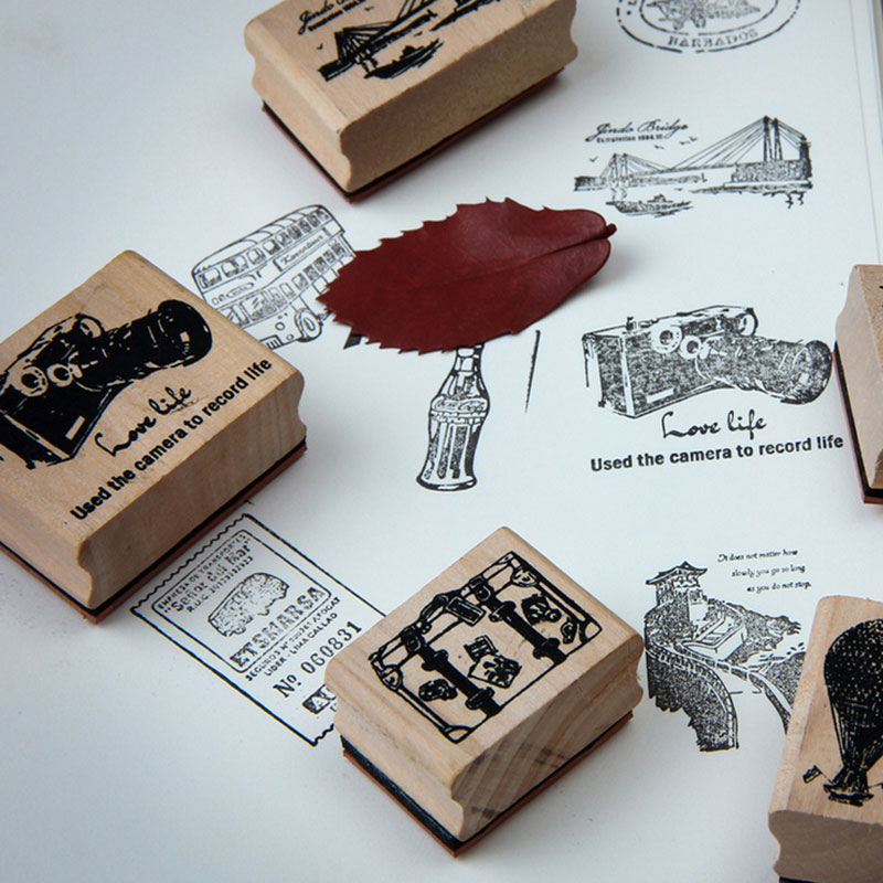 1pcs JWHCJ vintage world scenery  wooden rubber stamp Kids DIY Handmade Scrapbook Photo Album, students Stamp Arts, Crafts gifts jwhcj vintage cat date wood roller stamps for children diy handmade scrapbook photo album diary book decoration students stamps