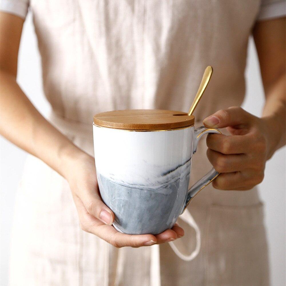 Nordique Danemark plaine marbre coupler modèles grande capacité tasse en céramique café tasse à déjeuner avec Cuillère