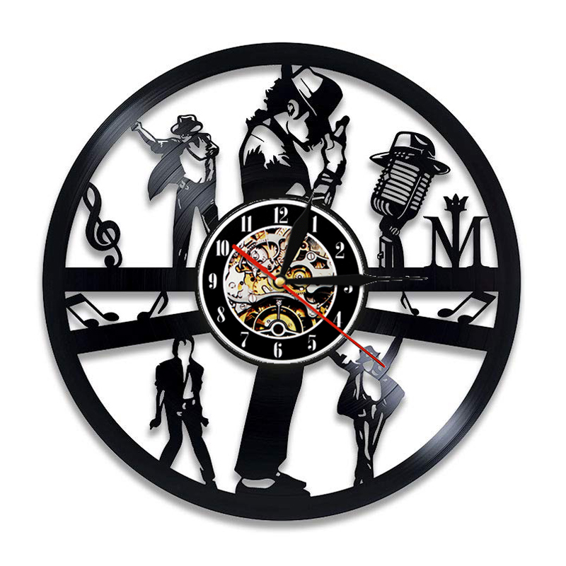 Michael Jackson Wall Clock Modern Design Music Theme 3D Stickers Pop King Vinyl Record Clocks Wall Watch Home Decor Gift For Man