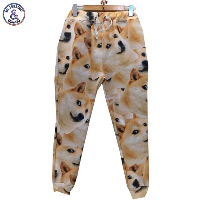 Mr.1991INC Newest 3d pant women/men emoji harajuku long casual trousers print yellow dogs sweatpant Harem pant P49