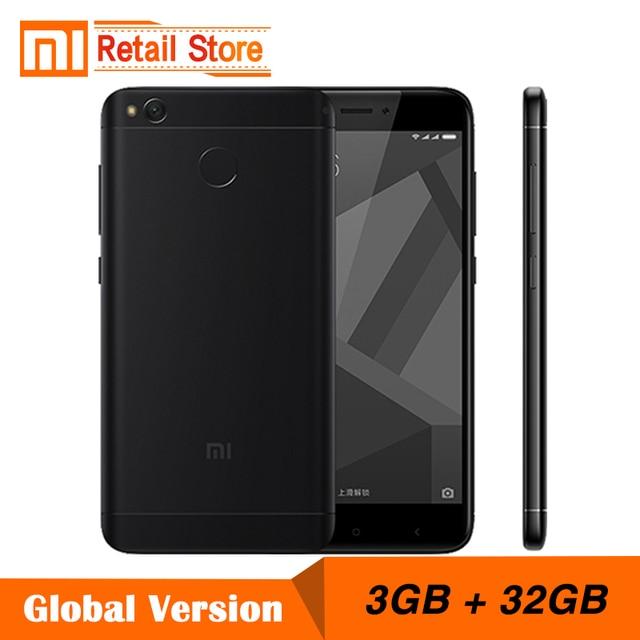 """Глобальная версия Xiaomi Redmi 4x3 ГБ Оперативная память 32 ГБ Встроенная память мобильного телефона Snapdragon 435 Octa core Процессор 5.0 """"13.0 МП 4100 мАч отпечатков пальцев ID"""