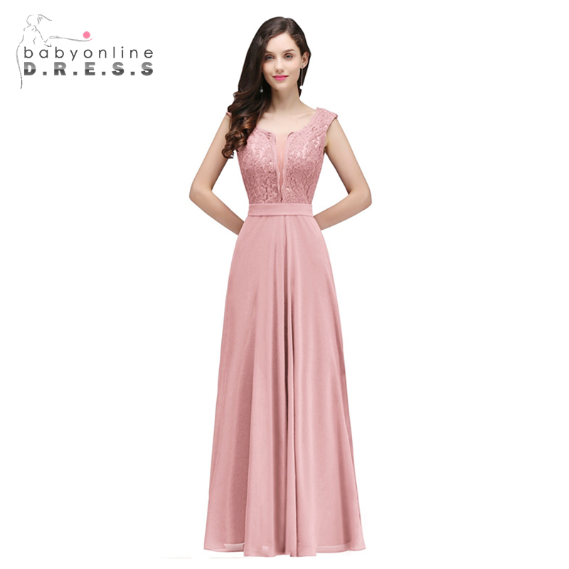 Babyonlinedress Elegant Cap Sleeve Long   Prom     Dresses   2019 Sexy Scoop Neck Lace Appliques A-Line Chiffon Fromal Party   Dresses