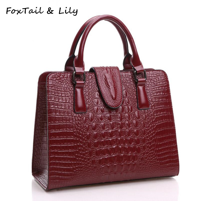 FoxTail & Lily Crocodile Pattern Genuine Leather Bag Women Shoulder Messenger Bags Luxury Famous Designer Handbags High Quality 1