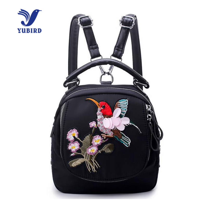 YUBIRD Brand Fashion Bird Embroidery Women Backpack All Collocation Flower Printing Backpack Shoulder Bag Cloth Travel