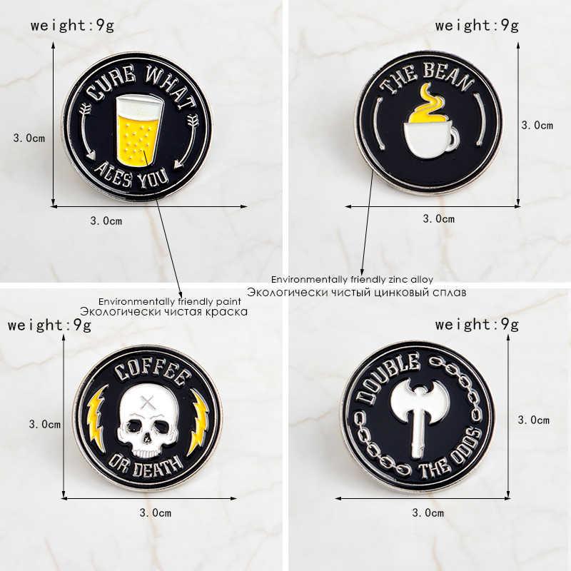 Zwarte ronde emaille broche Bier Koffie Ax Skelet pins Denim kleding zak Knop Badge Revers pin Punk dark sieraden gift