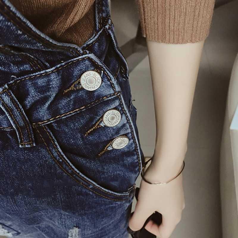 Свободные джинсы с регулируемым ремешком облегающее Боди женские джинсовые брюки Комбинезоны Рваные штаны