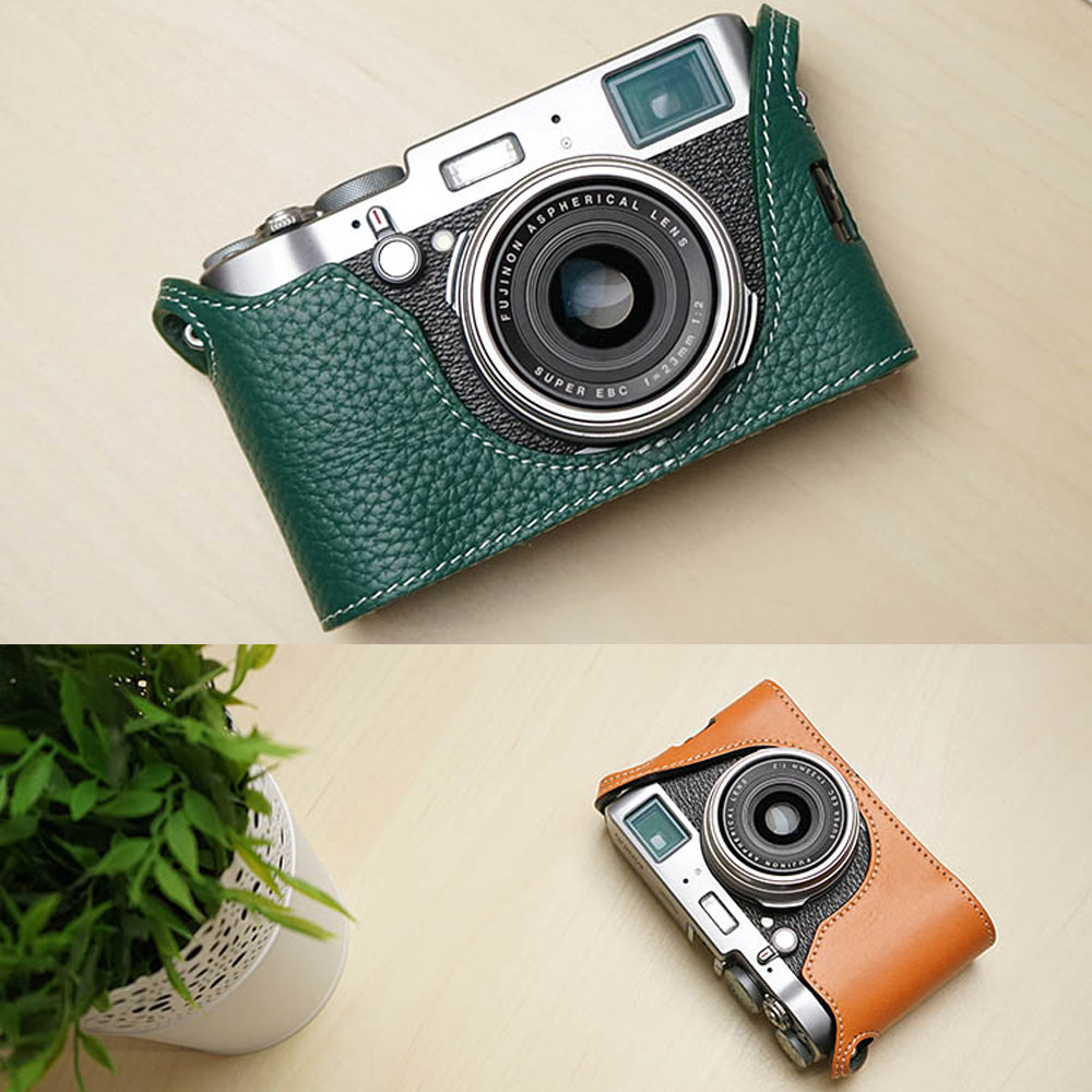 ФОТО Mr.Stone Genuine Leather Camera case Video Half Bag For Fuji Fujifilm X100T Retro Vintage Bottom Case