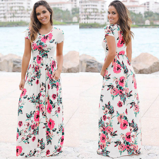 2018 Nouveau Design de Femmes à manches courtes O Cou impression fleur  Bohème plage robe Longue