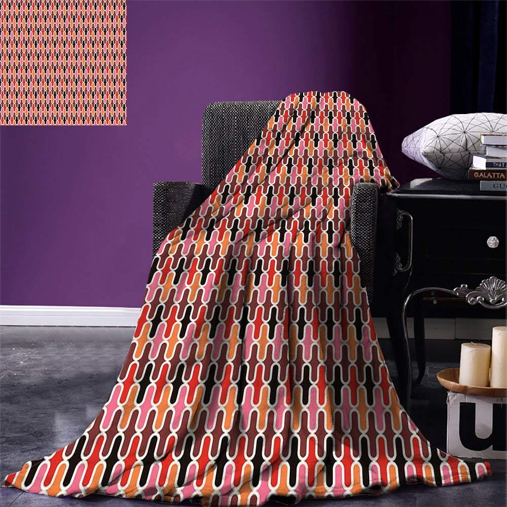 Retro Throw Blanket Vertical Rounded Lines Conceptual