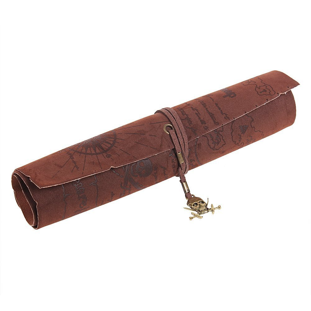 10pack (Retro Pirate Treasure Map Pattern Roll up PU Leather Pencil Case Holder (Skull) pirate jack looks for treasure