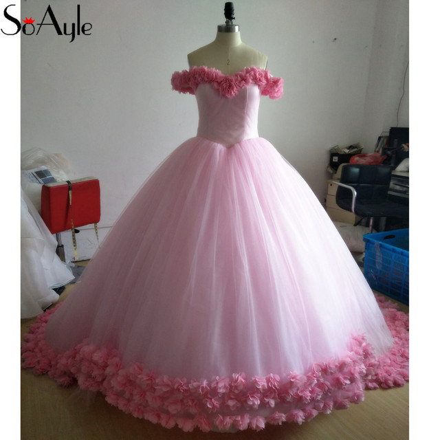 SoAyle Ball Gown Off the Shoulder Puffy Large Prom Dresses Girls Graduate  Party Pink Flower Dresses Formal Pretty Gowns Lace Up d744673e5a90