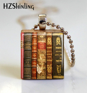2019 Fashion Vintage Old Books Scrabble Game Tile Ball Chain Necklaces Books Wooden Scrabble Tiles Jewelry(China)
