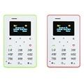 Más caliente mini tarjeta de teléfono aiek m5 pantalla a color de inglés/ruso/árabe teclado del teléfono celular de 4.5mm ultra delgada bolsillo del teléfono móvil