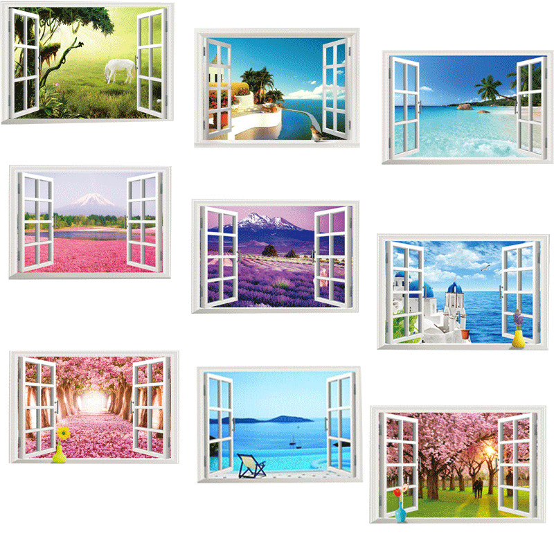 9 styles for you choose 3D Window Decal Wall Stickers Home Decor Beach landscape View Art Wallpaper Mural Poter