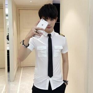 Image 5 - Stewardessen Kleding Lente Mannen Korte Mouw Zomer Slim Fit Casual Heren Shirts 6XL S Camisa Masculina Zwart/Wit