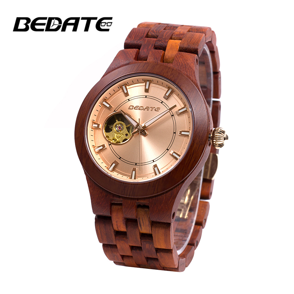 Здесь продается  Bedate Retro Wooden Strap Waterproof Mechanical Watch with Luminous Pointers Hand Winding Sport Watches 138A  Часы
