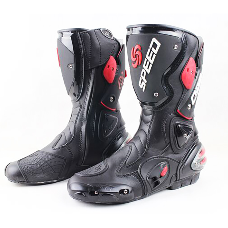 Motorcycle boots men speed 4 seasons Protective Gears moto shoes Black red white motorcycling boot motocross boots-in Motocycle Boots from Automobiles & Motorcycles