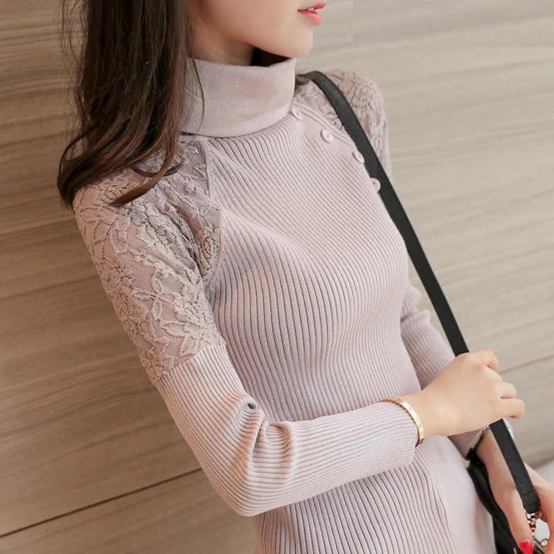 Coltrui mouw hoofd jurk Koreaanse nieuwe winter trui slanke kant stiksels korte mouwen shirt