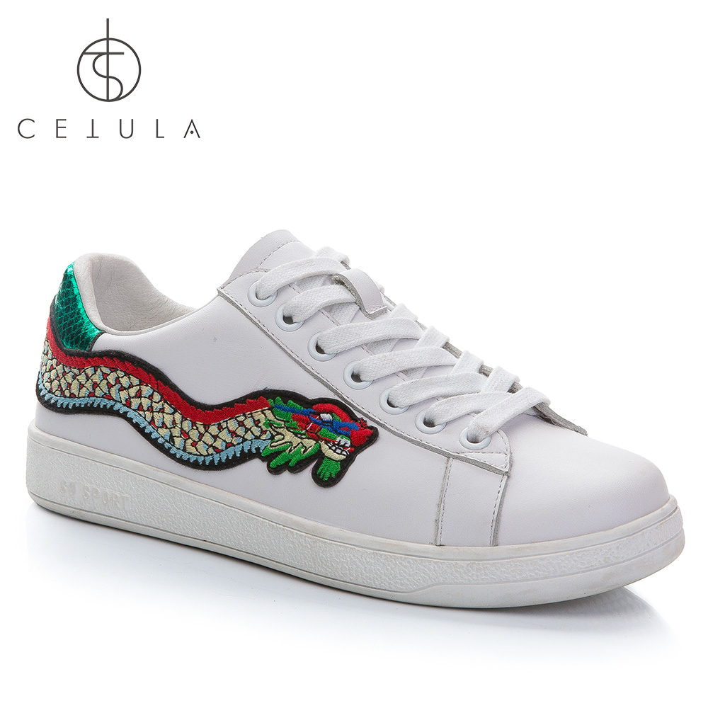 Cetula 2018 Female Casual Lace-up Round Toe Cow Leather Sneakers With Embroidery Patch Dragon & Snakeskin Branded Counter