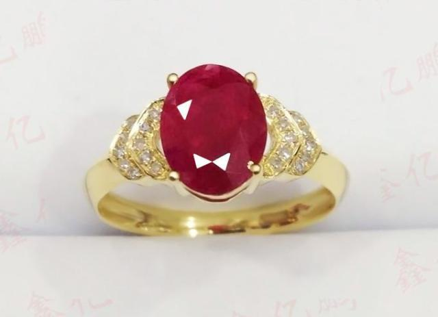 18 k gold inlaid natural Burmese ruby ring female 1.6 carats luxury and generous Birthday gift