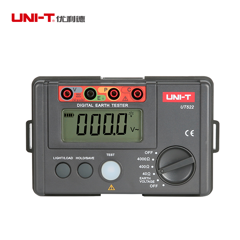 LCD High Precision Digital Earth Resistance Tester Digital Display 0-400V 0-4000 ohm Ground Earth Resistance UNI-T UT522