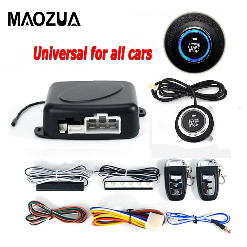 12V Auto Car Alarm Engine Start Stop Button Starline Remote Starter Central Locking Smart Key PKE Passive Keyless Entry System цена 2017
